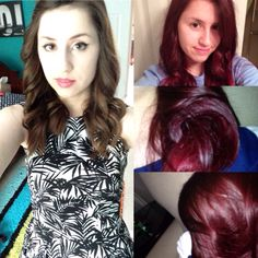 This is my hair dyed with Manic Panic Vampire Red and Rock N Roll Red on non-bleached dark hair. the picture to the left is pre-hair dye.