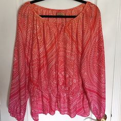 Boho Style Top. Beautiful blouse, gathered neck with tie, long sleeves. Color graduated from orange to pink (sunburst combo). Soft and floaty, ready for spring/summer. New with tags. Ellen Tracy Tops Blouses