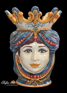 "Italian Moor's Head with figs. Sicilian ceramic ""Moor's head"" from Caltagirone. Dining Room Blue, Married With Children, Italian Pottery, Her Cut, Perfect Plants, Falling In Love With Him, Moorish, Blue Orange, Fig"