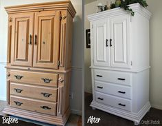 A great before and after... refinished armoire
