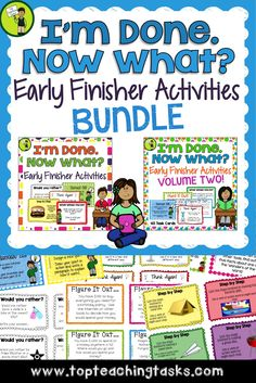 """Our Early Finisher Task Card Bundle is a great way to answer the common classroom question, """"I'm Done. Now What?"""" Engage your students with these great activities while building their creative thinking, sequencing, writing and cause and effect skills.   This features the following two products. Click on each to see the product preview: I'm Done. Now What? BUNDLE - Early Finisher Task Cards (US and NZ Spelling) I'm Done. Now What? BUNDLE - Early Finisher Task Cards (US and NZ Spelling)…"""