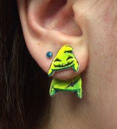 Nightmare Before Christmas Oogie Boogie Inspired Clinging Faux Gauge Earrings