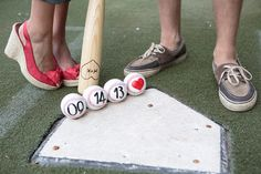 Clever baseball themed save the date engagement photo from Ranger Ballpark.