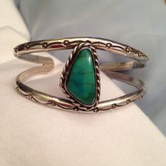 Excited to share the latest addition to my #etsy shop: Wide Turquoise Navajo Cuff Double Soldered Silver Bangle Bands Hand Stamped Sun Flowers Native American Symbols Vintage Southwest Boho Cuff http://etsy.me/2nfygZK #jewelry #bracelet #blue #turquoise #gemforjoy #boh