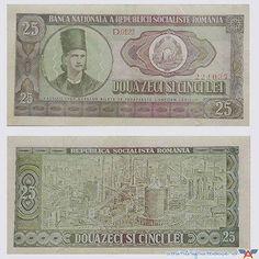 Bancnota de douazeci si cinci de lei Gold Money, Old Coins, My Childhood, Romania, Vintage World Maps, The Past, Memories, Retro, Pictures