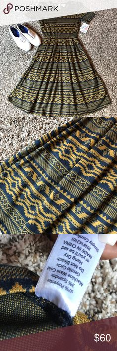 🆕LulaRoe Amelia🆕 Brand new with tags LulaRoe Amelia dress. Made from the beautifully soft jacquard fabric. Size small and 2xl available. Blue and gold Aztec pattern. Feel free to ask me any questions!  🌿 Check out my closet for more! Bundle to save! Trades accepted. 🌿 LuLaRoe Dresses Midi
