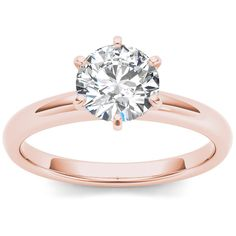 De Couer 14k Rose Gold 1ct TDW Diamond Engagement Ring ($2,987) ❤ liked on Polyvore featuring jewelry, rings, h, jewelry & watches, 14k ring, long rings, engagement rings, pink gold engagement rings and diamond rings