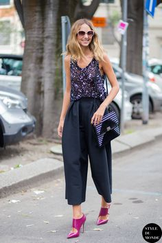 Candela Novembre in such cool trousers! Snapped by STYLEDUMONDE
