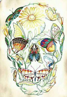 Skull Tattoo - Butterfly - Flowers - Dragon Fly