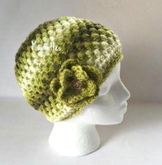 Handmade Beanie White Green Hat Wood Button Crochet Flower Teen Women