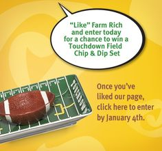 Head on over to our Facebook page to enter our First Friday Giveaway for a chance to win one of these great football snack trays - perfect for serving your fav Farm Rich snack & dip @ your super bowl party! http://www.facebook.com/FarmRichSnacks/app_443585975662233