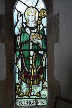 Wyck Rissington stained glass by James Powell and Sons 1921 St Patrick north aisle -22