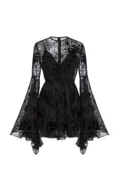 ALEX PERRY Buckley Flocked Silk Fitted Mini, Black Source by foolishandmagnificent outfits Dark Fashion, Gothic Fashion, Modern Victorian Fashion, Casual Mode, Alex Perry, Mode Outfits, Pretty Dresses, Frilly Dresses, Beautiful Black Dresses
