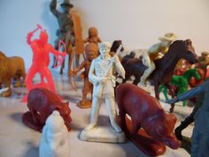 Vintage Lot Of 91 Piece 1960's Toy Soldiers, Cowboys, Indians, Farm Animals, Army Men, Louis Marx & Co., Davey Crockett by BessyBellVintage on Etsy