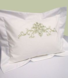 Pillow Embroidery, Custom Embroidery, Embroidery Stitches, Embroidery Patterns, Hand Embroidery, Machine Embroidery, Lace Bedding, Embroidered Bedding, Embroidered Towels