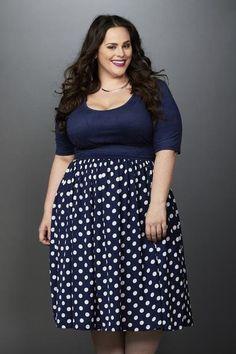 Plus Size Clothing for Women - Makena Polka Dot Chiffon Skirt Navy/Ivory - Society+ - Society Plus - Buy Online Now!