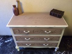 Chalk paint dresser: Coco ( mixed with old white) and pure white