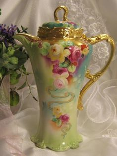 "Absolutely Stunning Antique Limoges France Masterpiece Rare One-of-a-Kind Pickard China Artist ""Thomas M. Jelinek"" Hand Painted Jean Pouyat Gorgeous Mold Roses Chocolate Coco Pot French Chocoliatiere Stouffer Studio Circa 1905"