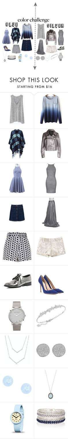 """""""Blue and silver"""" by hannahschoen ❤ liked on Polyvore featuring Zara, P.A.R.O.S.H., McQ by Alexander McQueen, Michael Kors, Oh My Love, Superdry, Halston, River Island, Alice + Olivia and Gianvito Rossi"""