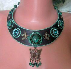 Elegante Halskette mit Malachit von BeadStArt auf Etsy