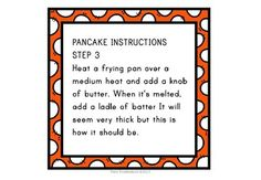 Writing Instructions - Making Pancakes by Polly Puddleduck Making Pancakes, How To Make Pancakes, Teaching Aids, Teaching Writing, Key Stage 1, Worksheets, Learning, Words, Studying