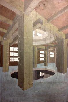 """""""CEMENTIFICIO A CHIOGGIA"""". In lavorazione per la nuova serie di Archeologia Industriale del 2015. Tela Gallery cm. 80x120 con fondi polimaterici e acrilico."""