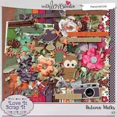 Autumn Walks - digital scrapbooking kit from Love It Scrap It. There's nothing more beautiful than an autumn walk. Watching the colors change and the animals scurry about getting ready for winter. Autumn Walks is the perfect kit to capture on your layouts the glorious beauty of autumn: beautiful colors, animals, and changes.