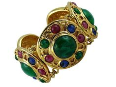585cd8f8475 CHRISTIAN DIOR   GRIPOIX   Gorgeous vintage Moghul poured glass fruit salad  link bracelet
