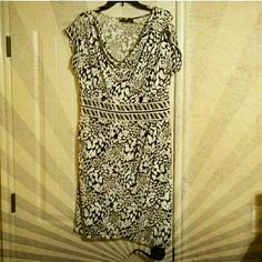 Apt. 9 Navy & White Dress Navy and white patterned dress with a cowl neckline, cap sleeves and wrap skirt  NO TRADES NO HOLDS ✔YES BUNDLES ✔YES OFFERS Apt. 9 Dresses