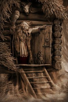 f npc Witch Baba Yaga Traveling Hut remote road forest female БАБА ЯГА lg Baba Yaga, Fantasy Creatures, Mythical Creatures, Legends And Myths, Supernatural Beings, Witch Art, Illustration, Norse Mythology, Russian Art
