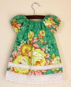 Green Hawaiian or Mexican peasant style dress baby by JMhandmade, $28.00