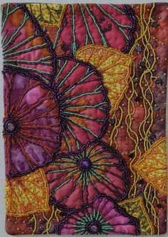 embellished kaffe fassett material  by Barbara Gremillion  silk threads, beads, sequins