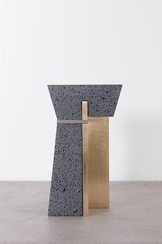 1892 Stool, 2014 Occhio di pernice basalt, brass, textile. H60 x W30 x D30 cm       de natura fossilium-tables and stools - Formafantasma