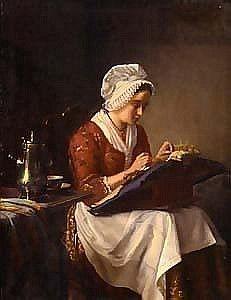 La dentellière. Huile sur toile de Jean Daniel STEVENS (belge 1830 - 1880)