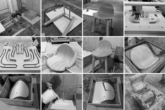 the way concrete molds are done for bigger items (furniture): CNC machined stacked together molds...