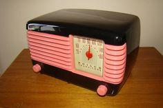 Philco Transitone  #46-200 Bakelite Deco Radio. Coral Pink and Black Lacquer  #Philco