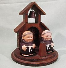 Old Goebel Friar Tuck Monk Salt and Pepper with Wooden Chapel