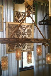 Industrial Chandelier with 5 burlap cages, old rope, wood beam and huge vintage pulley.
