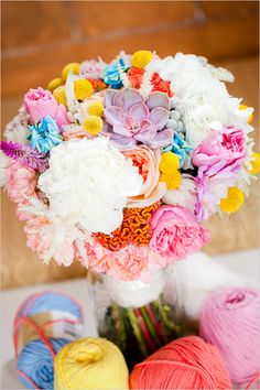 Super crazy for this bright and colorful wedding bouquet by Sweet & Flower