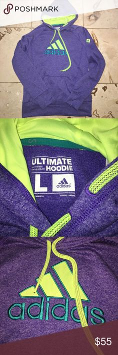 """EUC ADIDAS PULLOVER HOODIE Excellent used condition, no stains or flaws. """"the ultimate hoodie"""" - purple with neon yellow accents. Clima warm technology. Unisex size large. adidas Sweaters"""