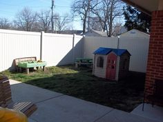 Before pic of the playground area. Kids had fun in our outdoor area, but you can see we needed an upgrade!