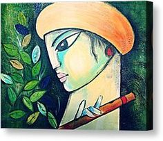Flute Art Painting by Sheetal Bhonsle - Flute Art Fine Art Prints and Posters for Sale