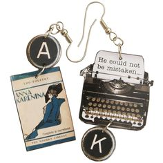 Anna Karenina Typewriter Earrings - The Literary Gift Company Book Jewelry, Key Jewelry, Typewriter Keys, Anna Karenina, Literary Gifts, My Beautiful Daughter, Vintage Typewriters, Library Card, Writing Resources
