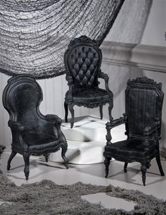 "Victorian Trading Co. - GOTHIC ARM CHAIRS (SET OF 3) They're 8.5"" high, seat estimated 3.3-3.5"" high, so a bit large for 1:6 scale, but might work with Fashion Royalty in the right diorama."