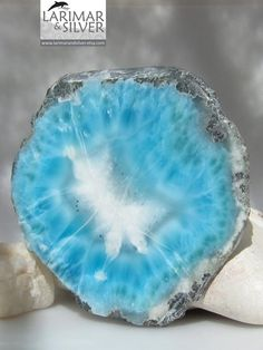 Larimar polished slab, impressive big slice of raw Larimar Larimar is the only precious stone available in the Caribbeans. What's more, Larimar is only available in the Caribbeans in Dominic Republic!