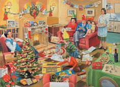 """""""A 50's Family Christmas"""" ~ a 1000 piece jigsaw puzzle by Falcon De Luxe Puzzles. Artist: Trevor Mitchell©"""