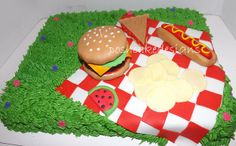 Picnic BBQ cake #picnic #bbq #picniccake #bbqcake #hamburger #hamburgercake #hotdog #hotdogcake #chips #cherry #cherries #cherrycake #redwhitetablecloth #poshcakedesigns