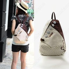 Girls Vintage Canvas Backpack Back Pack School Shoulder Bag Shopper Book bag