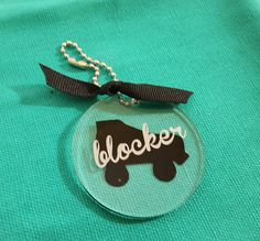 """Blocker/Skater/Coach/Medic Roller Derby 2"""" clear acrylic key ring or bag tag with black skate and text"""