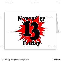 11-13 #FridayThe13th Stationery Note Card by #TodaysEvent #Zazzle -